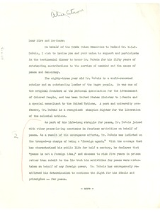 Thumbnail of Circular letter from Trade Union Committee to Defend Dr. W. E. B. Du Bois to             unidentified correspondent