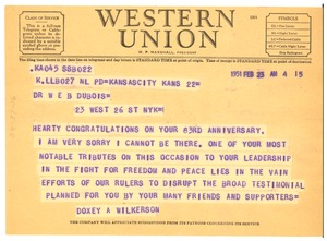 Thumbnail of Telegram from Doxey A. Wilkerson to W. E. B. Du Bois