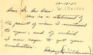 Thumbnail of Letter from Doxey A. Wilkerson to W. E. B. Du Bois