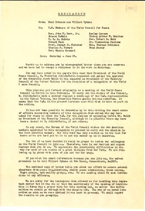 Thumbnail of Memorandum from Paul Robeson and Willard Uphaus to U.S. Members of the World             Council for Peace