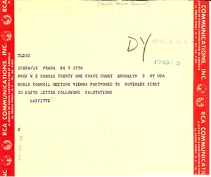 Thumbnail of Telegram from World Peace Council to W. E. B. Du Bois