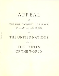 Thumbnail of Appeal of the World Council of Peace to the United Nations and to the peoples of         the world