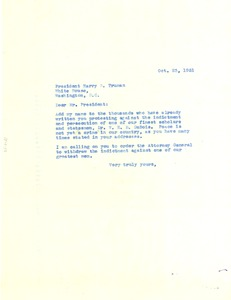 Thumbnail of Letter from unidentified correspondent to President Harry Truman