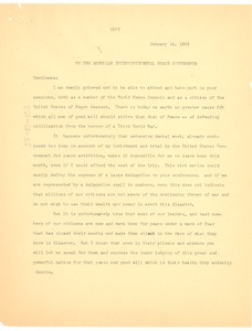 Thumbnail of Letter from W. E. B. Du Bois to American              Inter-Continental Peace Conference