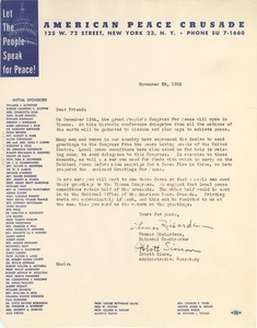 Thumbnail of Circular letter from American Peace Crusade
