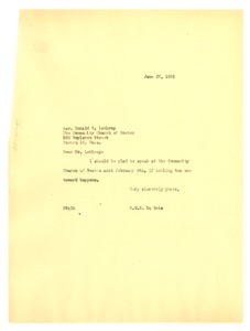Thumbnail of Letter from W. E. B. Du Bois to Community Church of Boston