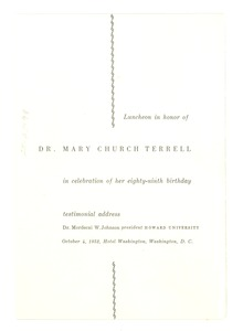 Thumbnail of Mary Church Terrell testimonial lunch program
