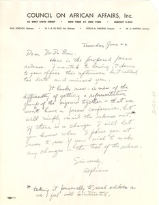Thumbnail of Letter from Council on African Affairs to W. E. B. Du Bois