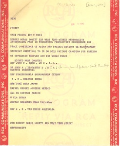 Thumbnail of Telegram from Peace Conference of Asian and Pacific Regions to Robert Morss             Lovett