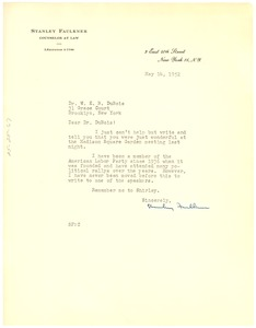 Thumbnail of Letter from Stanley Faulkner to W. E. B. Du Bois