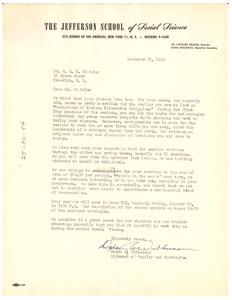 Thumbnail of Letter from Jefferson School of Social Science to W. E. B. Du Bois