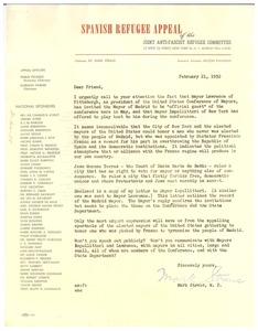 Thumbnail of Circular letter from Joint Anti-Fascist Refugee Committee to W. E. B. Du Bois