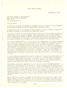 Thumbnail of Letter from Joint Anti-Fascist Refugee Committee  to Mayor of the City of             New York