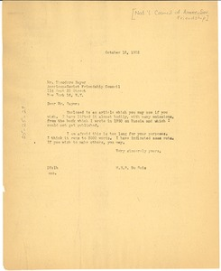 Thumbnail of Letter from W. E. B. Du Bois to National Council of American-Soviet Friendship