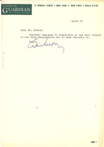 Thumbnail of Letter from National Guardian to W. E. B. Du Bois