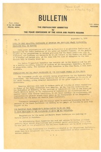 Thumbnail of Preparatory committee for Peace Conference of the Asian and Pacific Regions bulletin number 8