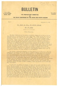 Thumbnail of Preparatory committee for Peace Conference of the Asian and Pacific Regions bulletin number 9