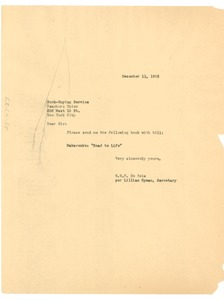 Thumbnail of Letter from Lillian Hyman to Teachers Union