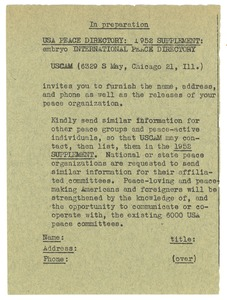 Thumbnail of USA peace directory: 1952 supplement