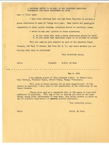 Thumbnail of Letter from W. E. B. Du Bois to 100 prominent Americans concerning the Peace             Conference in China