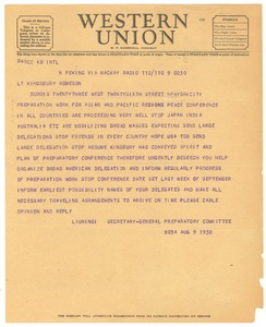 Thumbnail of Telegram from Peace Conference of the Asian and Pacific Regions to W. E. B. Du             Bois, John A. Kingsbury, and Paul Robeson