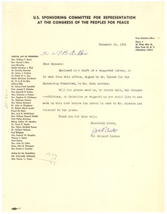 Thumbnail of Circular letter from U. S. Sponsoring Committee of Congress of the Peoples for Peace to W. E. B. Du Bois