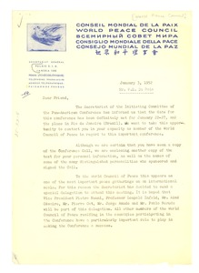 Thumbnail of Circular letter from World Peace Council to W. E. B. Du Bois