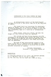Thumbnail of Convocation of the World Council of Peace