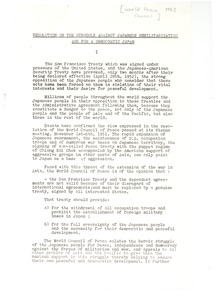 Thumbnail of Resolution on the struggle against Japanese demilitarization and for a             democratic Japan