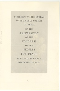 Thumbnail of Statement of the bureau of the World Council of Peace on the preparation of the             Congress of the Peoples for Peace