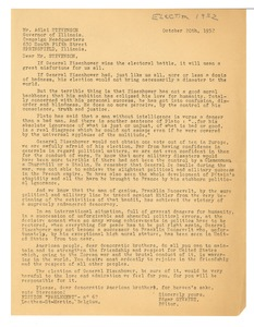 Thumbnail of Letter from Edgar Gevaert to Adlai Stevenson
