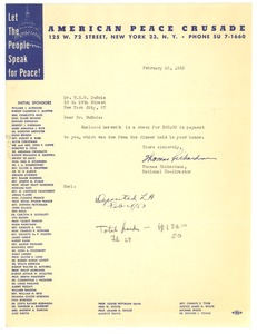 Thumbnail of Letter from American Peace Crusade to W. E. B. Du Bois
