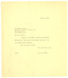 Thumbnail of Letter from W. E. B. Du Bois to Dr. Alphaeus Hunton