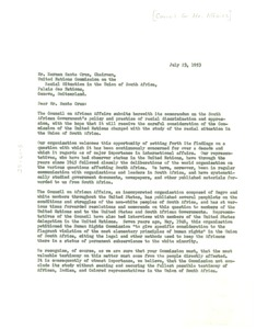 Thumbnail of Letter from Council on African Affairs to Herman Santa Cruz