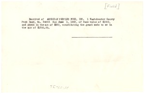Thumbnail of Receipt from Frederick V. Field to W. E. B. Du Bois