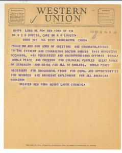 Thumbnail of Telegram from Greater New York Negro Labor Council to W. E. B. Du Bois