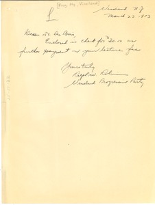Thumbnail of Letter from Progressive Party of New Jersey to W. E. B. Du Bois