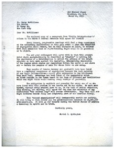 Thumbnail of Letter from Muriel I. Symington to Carey McWilliams