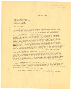 Thumbnail of Letter from W. E. B. Du Bois to William R. Hood