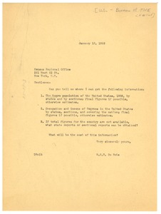 Thumbnail of Letter from W. E. B. Du Bois to the U. S. Bureau of the Census