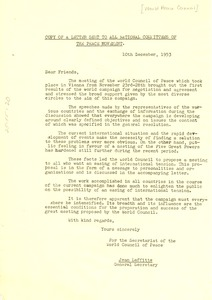 Thumbnail of Copy of Letter sent to all national committees of the Peace Movement