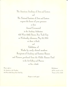 Thumbnail of Invitation and Program to the American Academy and National Institute of Arts             and Literature Annual Ceremonial