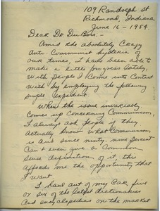 Thumbnail of Letter from Karol Fahnestock to W. E. B. Du Bois