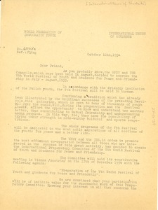 Thumbnail of Circular letter from International Union of Students to W. E. B. Du Bois