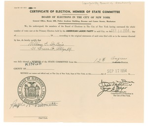 Thumbnail of Certificate of election Member of state committee