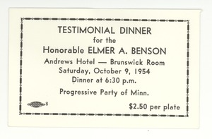 Thumbnail of Ticket to testimonial dinner for the Honorable Elmer A. Benson