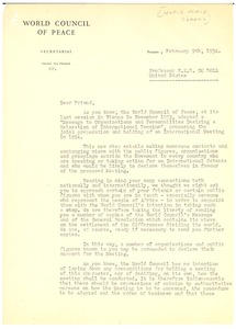 Thumbnail of Letter from World Council of Peace to W. E. B. Du Bois