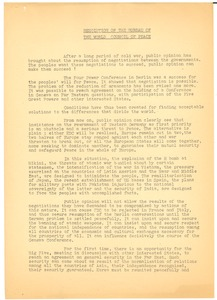 Thumbnail of Resolution on the Bureau of the World Council of Peace
