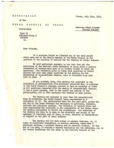 Thumbnail of Circular letter, memoranda, recommendations, and resolutions from World Council of Peace to W. E. B. Du Bois