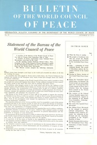 Thumbnail of Bulletin of the World Council of Peace, number 19